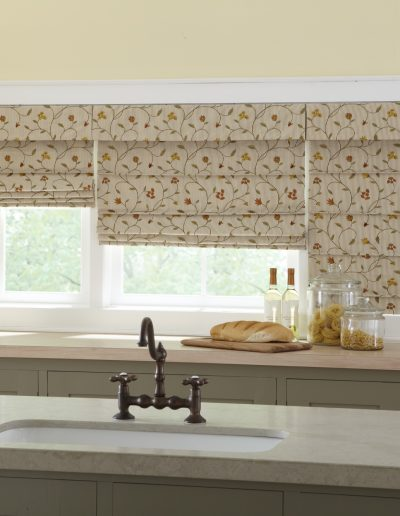 ribbed pleat fabric shades in kitchen